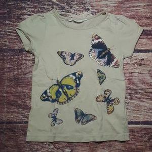 H&M beige butterfly glittery tshirt sz 4-5